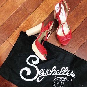 SEYCHELLES Red Platform Heel Sandal Clog